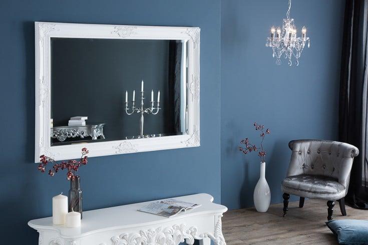 Barocker Wandspiegel RENAISSANCE 105x75cm weiß variabel aufhängbar