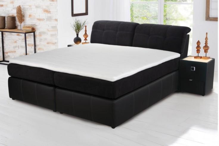 hochwertiges design boxspringbett alexandria schwarz 180x200 cm mit verstellbarer kopfst tze. Black Bedroom Furniture Sets. Home Design Ideas