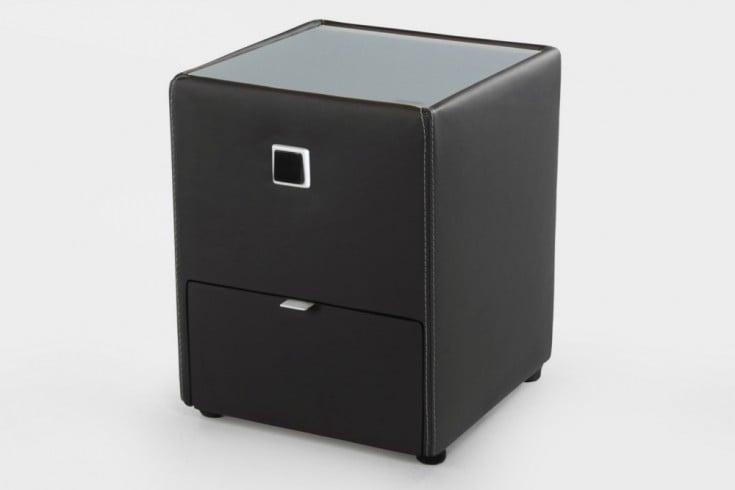 design nachtkommode alexandria f r boxspringbetten schwarz mit schublade indirekte beleuchtung. Black Bedroom Furniture Sets. Home Design Ideas