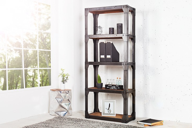 design b cherregal industrial 180cm akazie teakgrau gek lkt metallkorpus riess. Black Bedroom Furniture Sets. Home Design Ideas