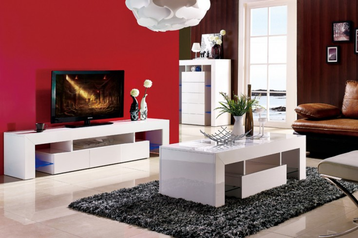 modernes tv lowboard ambience hochglanz wei 180cm mit led. Black Bedroom Furniture Sets. Home Design Ideas