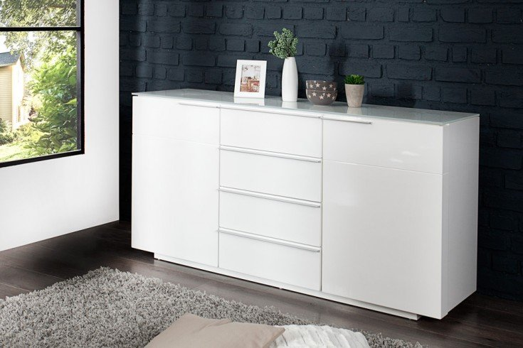 gro es sideboard canberra original mca hochglanz wei. Black Bedroom Furniture Sets. Home Design Ideas