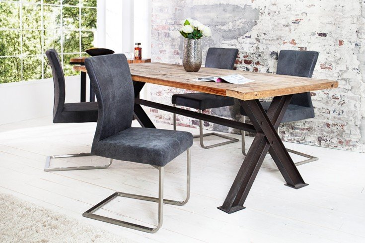 Freischwinger Stuhl SAMSON vintage grau Edelstahlrahmen mit Komfortgriff