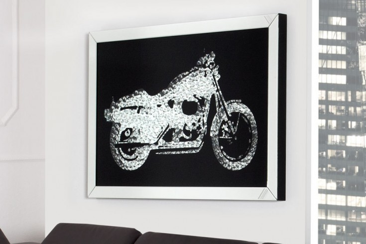 Exklusive Wandskulptur Bild MIRROR Motorrad Diamond Bike 90x60 cm