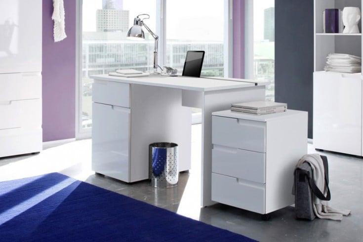 Design Schreibtisch CLUB 120cm Hochglanz weiß