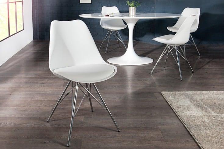 Retro Designklassiker Stuhl SCANDINAVIA MEISTERSTÜCK weiß mit hochwertig verchromten Stuhlgestell