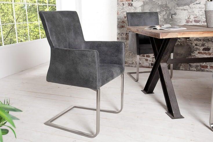 Freischwinger Stuhl SAMSON vintage grau mit Armlehne und Edelstahlrahmen