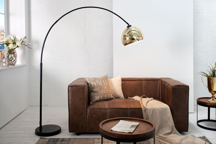 moderne bogenlampe lounge deal gold schwarzer marmorfu. Black Bedroom Furniture Sets. Home Design Ideas