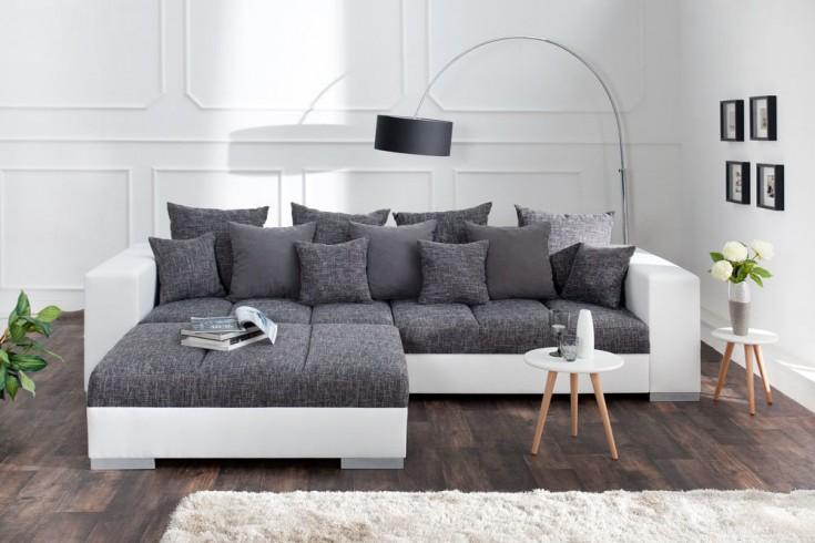 Design XXL Sofa BIG SOFA ISLAND 290cm weiß grau charcoal Strukturstoff inkl. Kissen