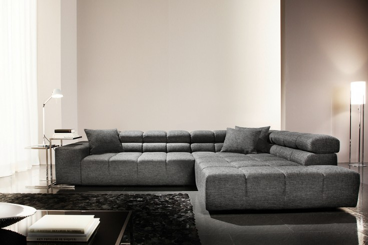 modernes ecksofa careno strukturstoff grau mit. Black Bedroom Furniture Sets. Home Design Ideas