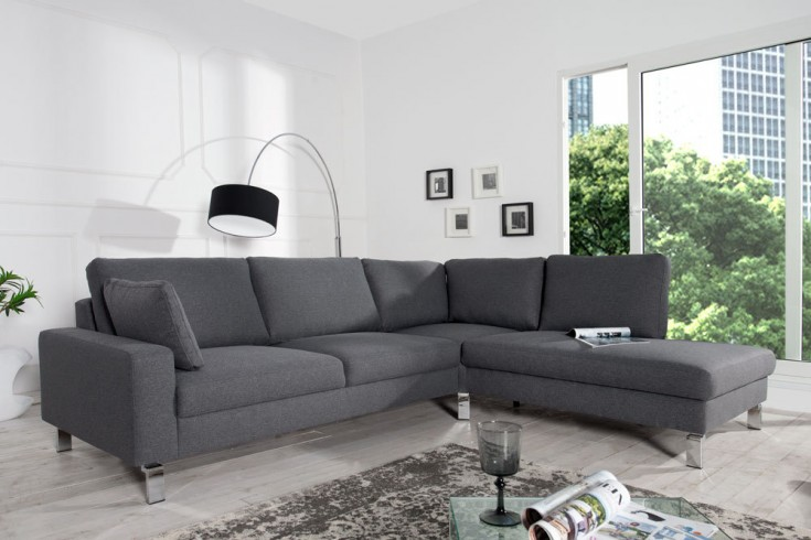 Design Ecksofa INTERMEZZO Strukturstoff dunkelgrau Chromfuß mit Armlehnenkissen Original CANDY Lifestyle