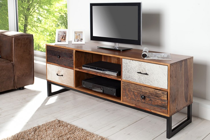 Design TV Board NATURE PATCHWORK Sheesham echtes Kuhfell