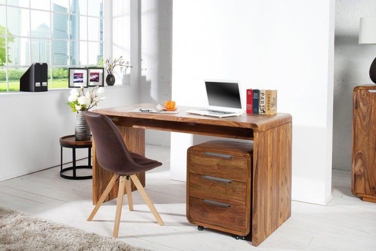 Design Schreibtisch CUBUS 150cm Sheesham Palisander Holz Stone Finish
