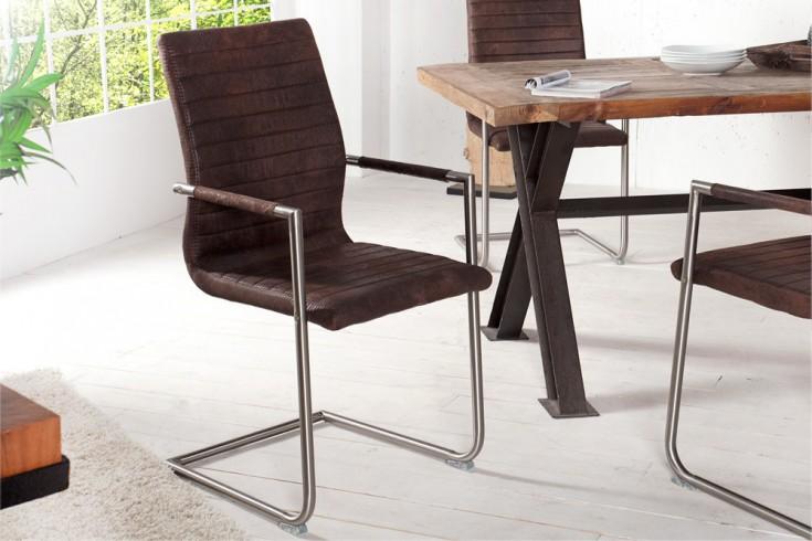 Hochwertiger Echt Edelstahl Freischwinger Stuhl RICHMOND coffee mit Armlehnen und eleganter Designsteppung