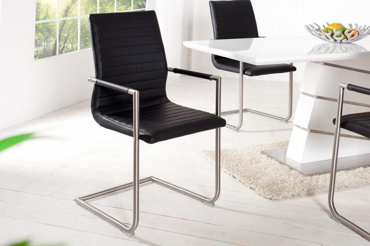 Hochwertiger Echt Edelstahl Freischwinger Stuhl RICHMOND schwarz mit Armlehnen und eleganter Designsteppung
