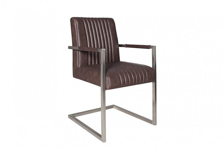 Echt Edelstahl Freischwinger Stuhl BIG ASTON dark coffee mit hohem Sitzpolsteraufbau im Roadster Design