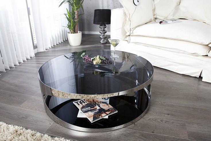 Moderner couchtisch prometheus 80cm aus opalglas edelstahl for Table de salon ronde design