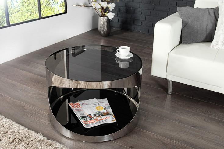 Moderner Couchtisch PROMETHEUS 60 cm aus Opalglas Edelstahl rund