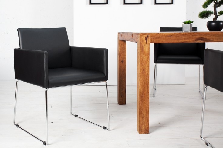 Eleganter Design Stuhl LIVORNO schwarz-anthrazit Chromgestell