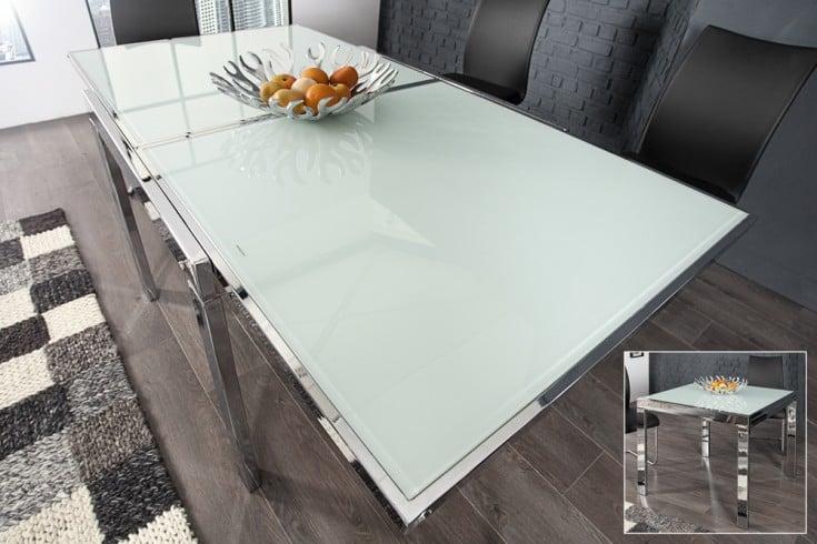 ausziehbarer esstisch modular opalglas 180cm wei mit butterfly auszug und chromgestell riess. Black Bedroom Furniture Sets. Home Design Ideas