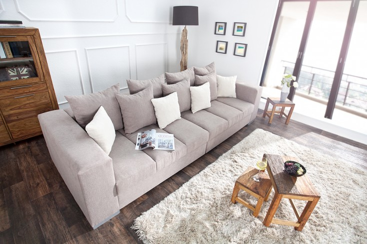 design xxl sofa big sofa island soft baumwolle greige inkl kissen. Black Bedroom Furniture Sets. Home Design Ideas