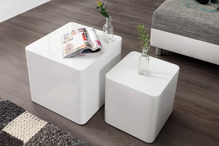 Moderner Couchtisch 2er Set MONOBLOC 40cm Hochglanz weiß Beistelltisch