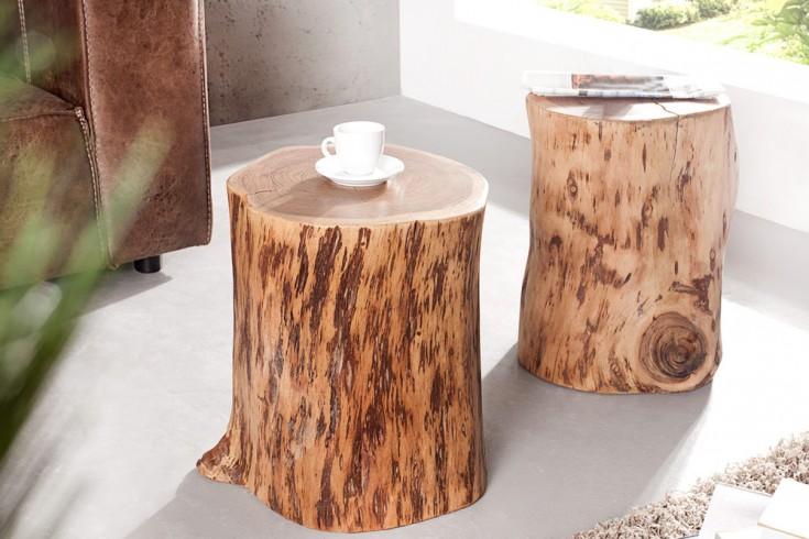 Seltener Massivholz Beistelltisch GOA Baumstamm Hocker aus Akazie 45cm