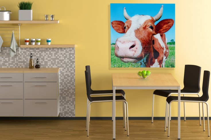 Hochwertiger Kunstdruck HEIDI 80x80cm Wandbild aus Glas Kuh