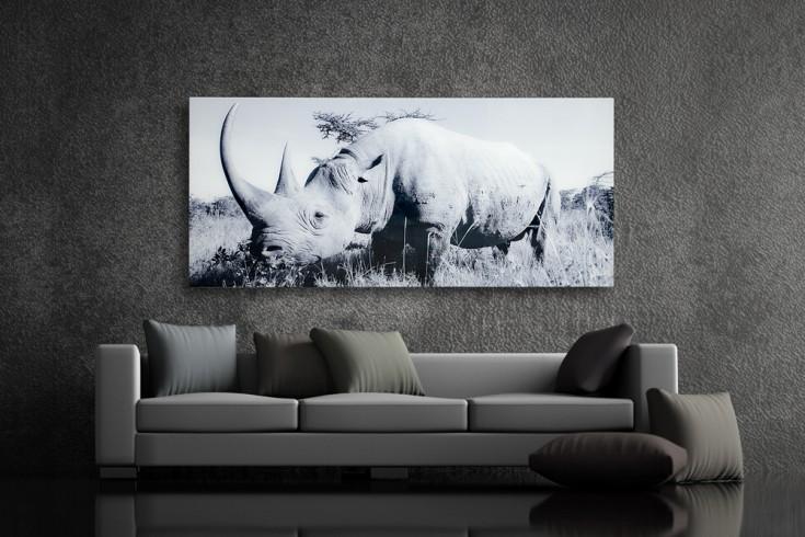 Hochwertiger Kunstdruck NASHORN 140x60cm Wandbild aus Glas