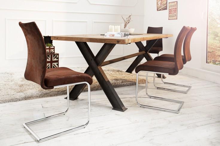 Moderner Design Freischwinger Stuhl SUAVE antik braun mit Chromgestell
