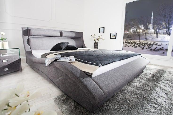 Exklusives Design Doppelbett MANHATTAN 180x200 cm Polsterbett anthrazit