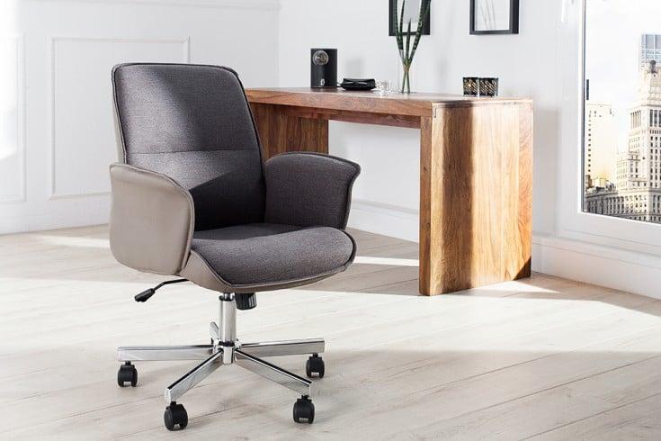 Exklusiver Design Bürostuhl COMFORT greige grau ergonomisch und höhenverstellbar