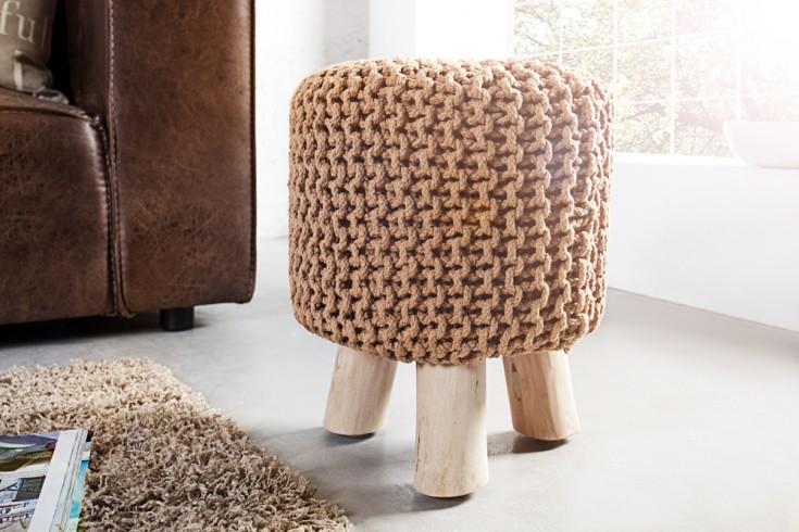 Design Sitzhocker LEEDS aus Strick coffee 45cm mit Holzfüßen Baumwolle in Handarbeit