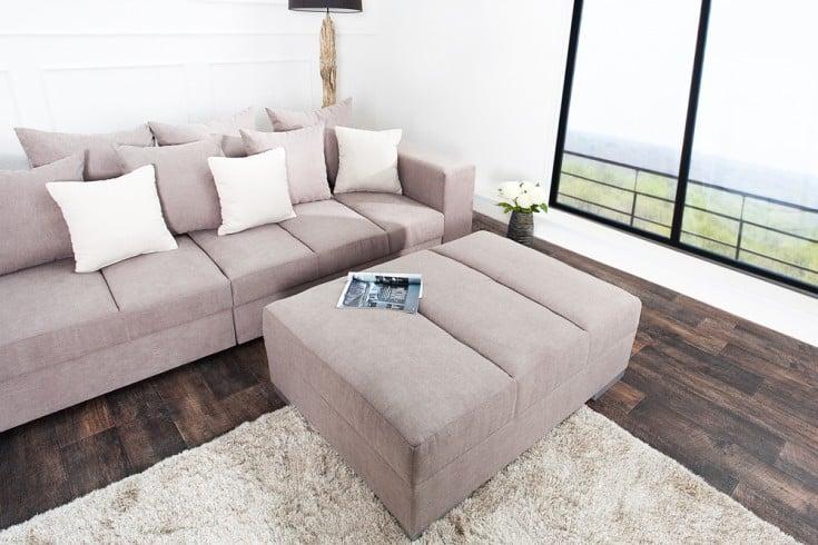 Hocker zum Sofa BIG SOFA ISLAND Soft Baumwolle greige