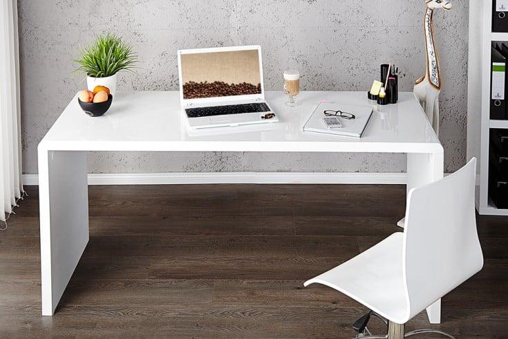 Design Schreibtisch FAST TRADE 140cm weiß Hochglanz Bürotisch