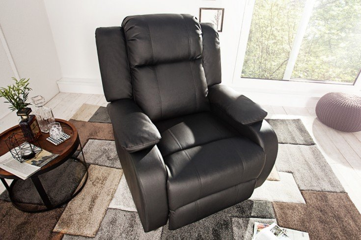 Moderner Relaxsessel HOLLYWOOD schwarz mit Liegefunktion
