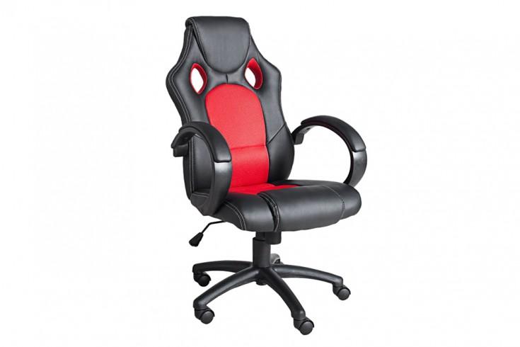 Exklusiver Design Bürodrehstuhl RICKY ORIGINAL MCA schwarz rot im Sportsitz Design