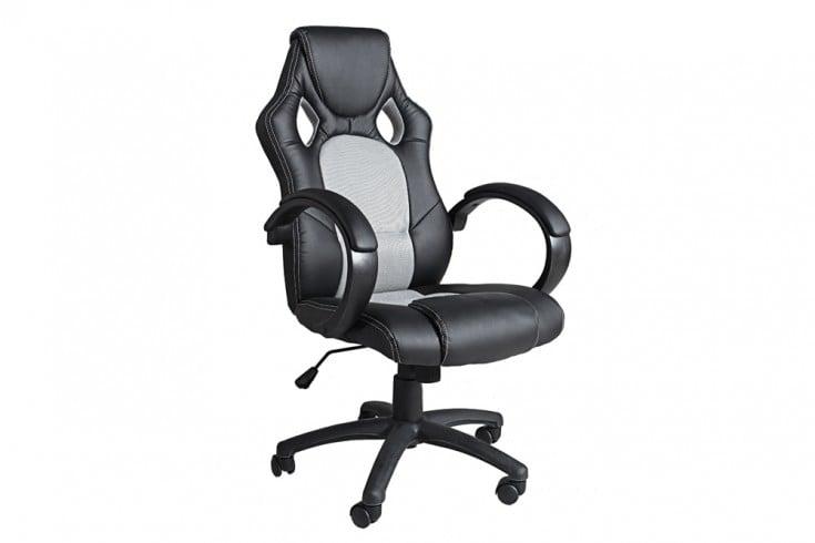 Exklusiver Design Bürodrehstuhl RICKY ORIGINAL MCA schwarz grau im Sportsitz Design
