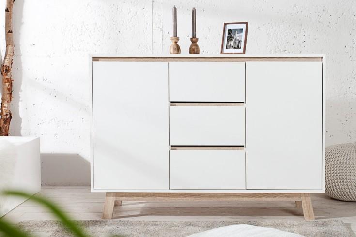 moderne design kommode stockholm wei highboard mit wendbarer front sonoma eiche sideboard. Black Bedroom Furniture Sets. Home Design Ideas
