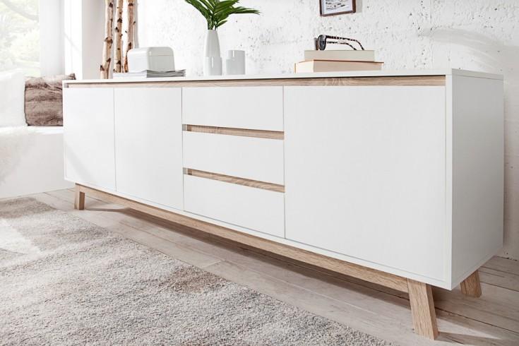 Modernes Design Sideboard STOCKHOLM 200cm Weiß wendbare Front Sonoma Eiche