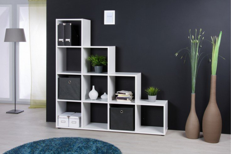 exklusives stufenregal clever 155cm wei raumteiler riess. Black Bedroom Furniture Sets. Home Design Ideas