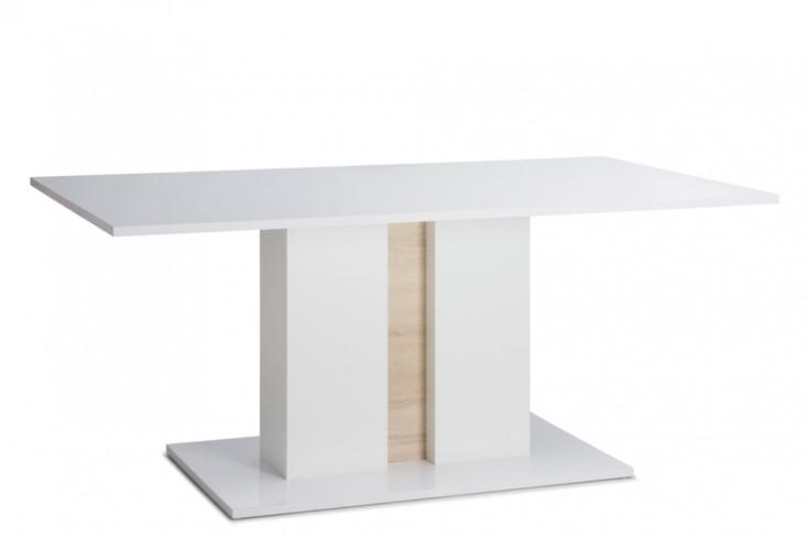 Design Esstisch CLASSY 160cm Weiß Hochglanz inkl. Beleuchtung und wendbare Blenden im Tischfuß