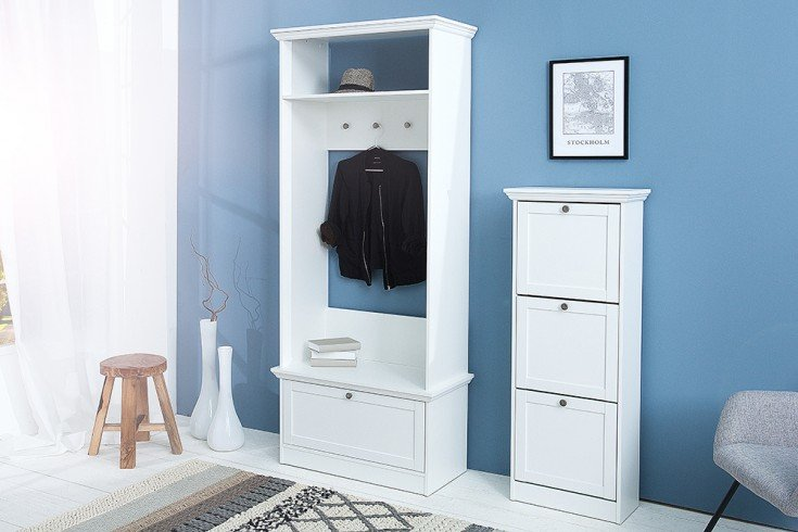 klassische garderobe provence wei 200cm im landhausstil riess. Black Bedroom Furniture Sets. Home Design Ideas