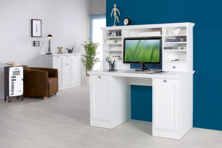 Klassischer Design Schreibtisch PROVENCE mit Aufsatz Weiß 135cm im Landhausstil