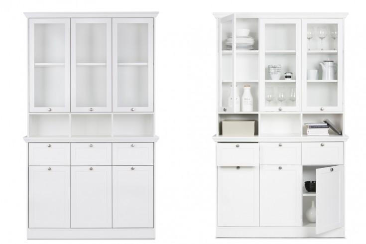 Klassischer Design Buffet Vitrinenschrank PROVENCE 200cm Weiß im Landhausstil