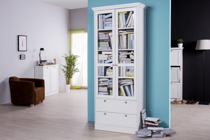 Klassische Design Vitrine PROVENCE 200cm Weiß im Landhausstil