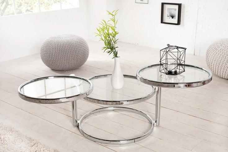 Design Couchtisch ART DECO III 155cm mit 3 Ebenen chrom Glas