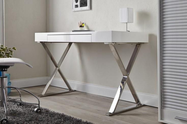 Design Schreibtisch GRACE Hochglanz weiß mit Schublade
