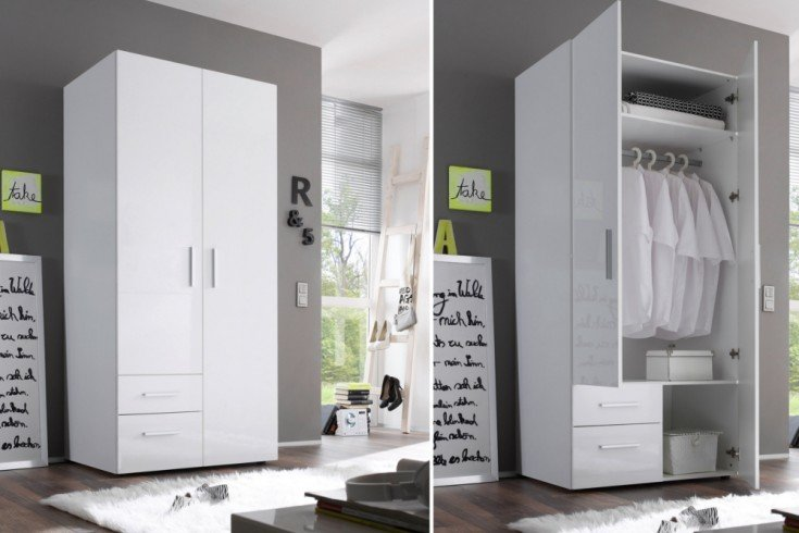 design kleiderschrank nashville 90cm wei hochglanz garderobenschrank mit schubladen riess. Black Bedroom Furniture Sets. Home Design Ideas