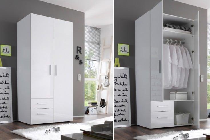 Design Kleiderschrank NASHVILLE 90cm weiß Hochglanz Garderobenschrank mit Schubladen